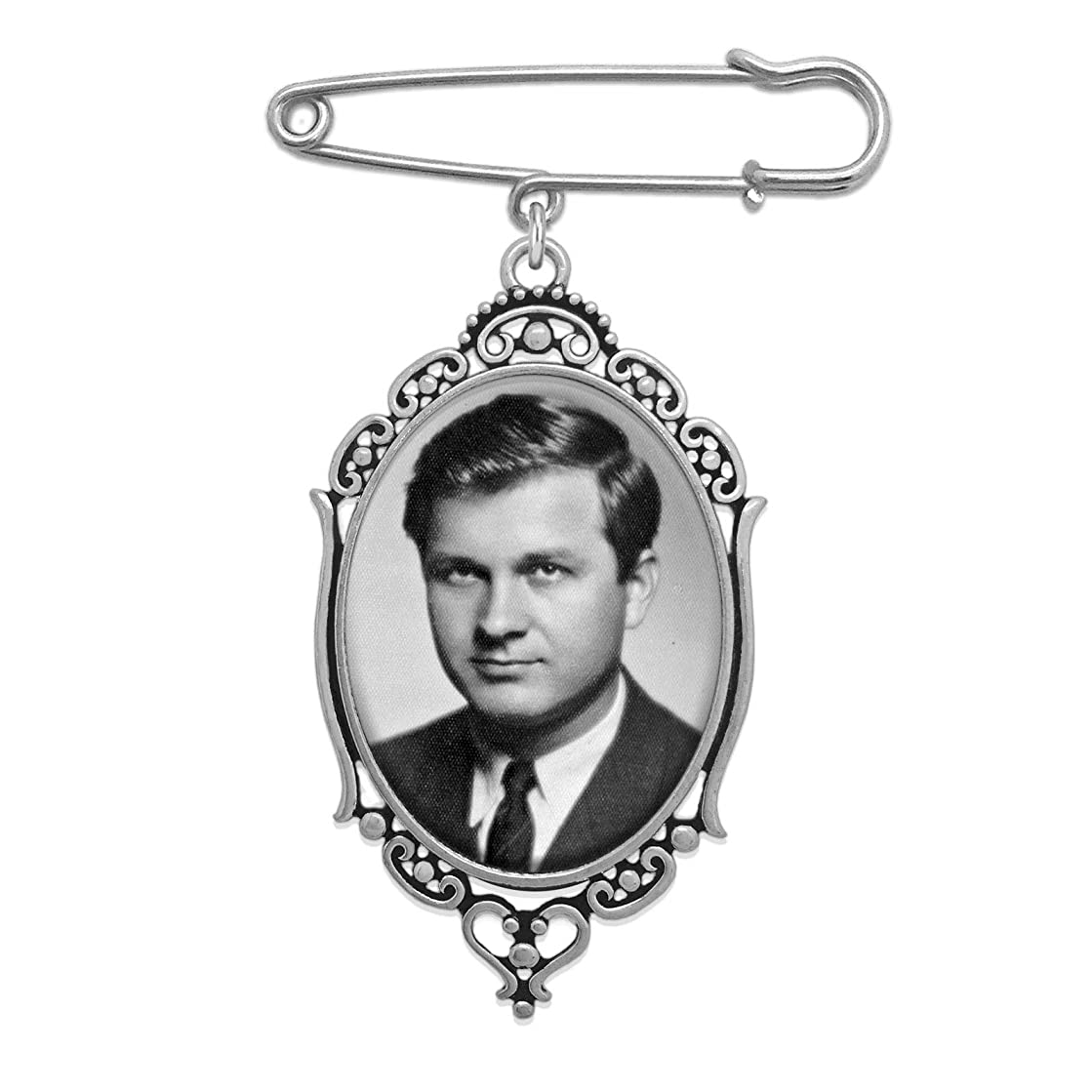 Wedding Boutonniere Bouquet Charm Pin Oval Photo Charm Mother of The Bride Gift for Groom w/Photo Resizing Software