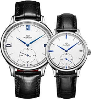 Marvin スイスクォーツ アナログ腕時計 彼と彼女へのギフト カップル用腕時計 レザーバンド 日付機能付き腕時計