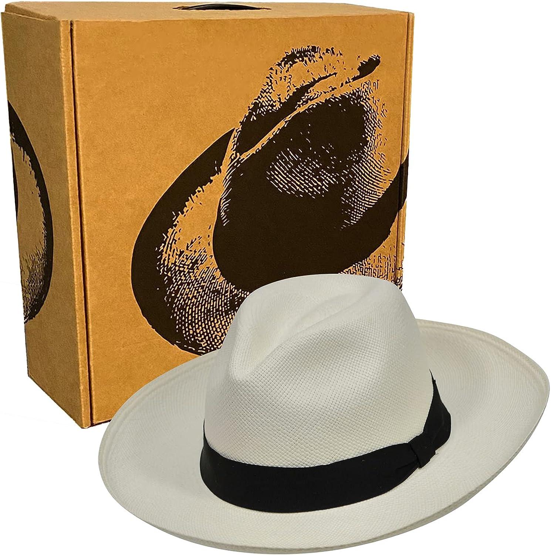 Classic Wide Brim Fedora - Black Band - Toquilla Straw - Handwoven in Ecuador - Original Panama Hat - Hat Box Included - GPH