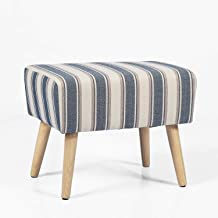 Adeco Modern Simple Nordic Stripes Ottoman Stool Seat, 21x14x16.5, Blue Stripes