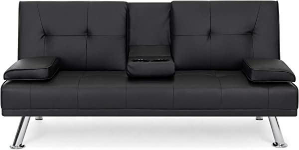 Best Choice Products Modern Faux Leather Futon Sofa Bed Fold Up Down Recliner Couch With Cup Holders Black