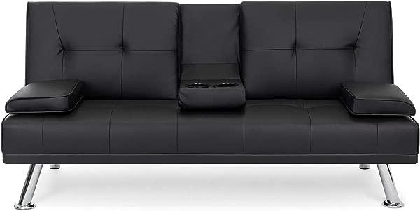最佳选择产品现代人造皮革蒲团沙发床折叠躺椅沙发与杯架黑色