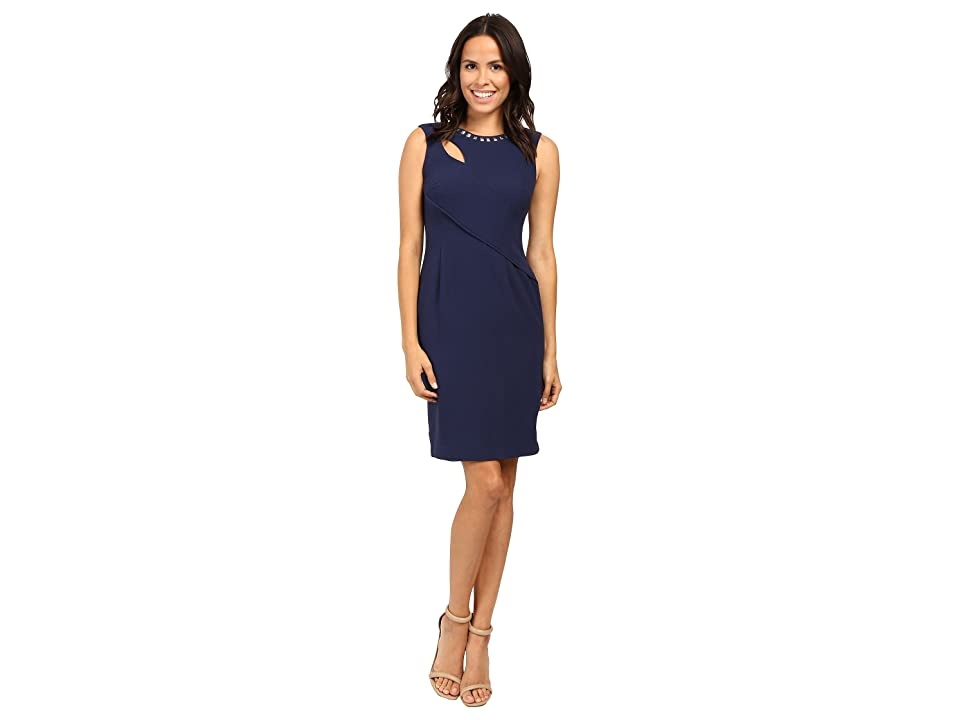 Adrianna Papell Cut Out Sheath Dress with Hardware (Lyric Navy) Women