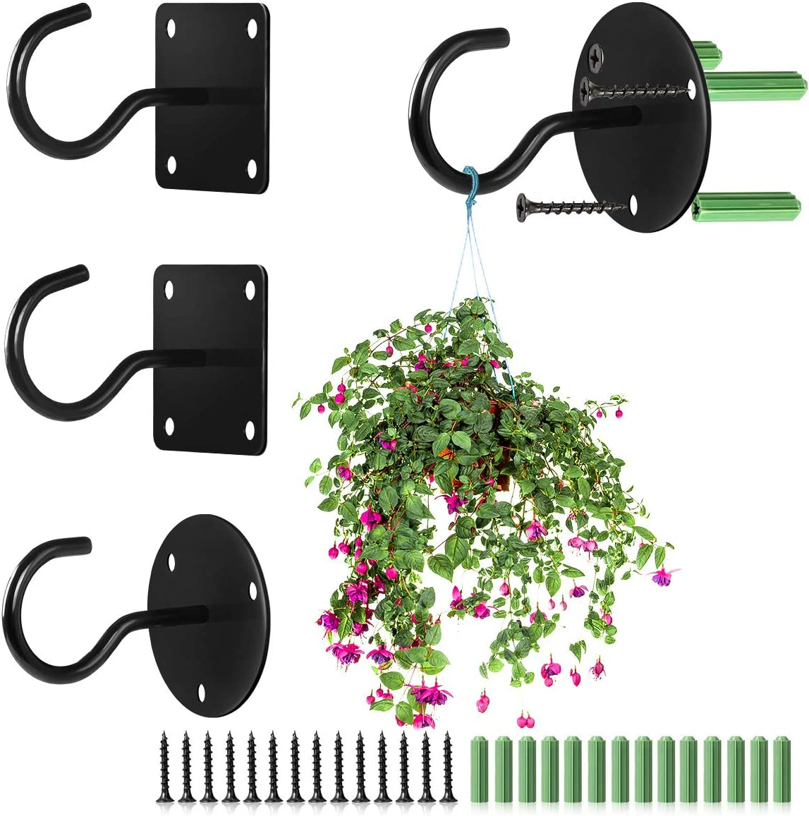 Black Ceiling hanging Hook Ranking TOP13 4 Pack Metal Iron Bigger H Cheap mail order sales Thicker