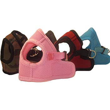 Snazzi Pet Soft Mesh Comfy Step in Dog Vest Harness for Teacups, Toys, Minis, Puppies, Small Dog Breeds 2-16 lbs, Baby Pink, Sky Blue, Black, Red, Camo X-Small, Small, Medium, Large, X-Large
