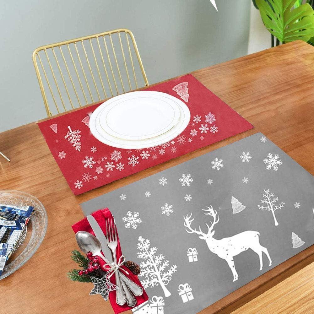 Tapis de Table de Nno/ël,Set de Table de No/ël Plastique,Christmas Placemats,Sets de Table Lavables,Set de Ttable Rr/ésistant /à la Chaleur Rouge