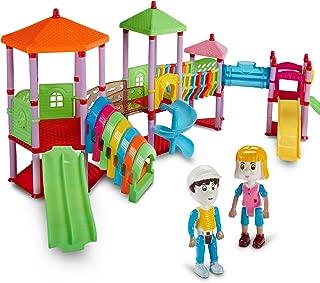 Dazzling Toys 135 Pcs Amusement Park Colorful 2 Figures Assemble Playground Set