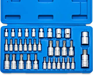 "Neiko 10070A Torx Bit Socket and E-Torx Star Socket Set | 35-Piece Set, S2 and Cr-V Steel, 1/4"", 3/8"" and 1/2-Inch Drive"