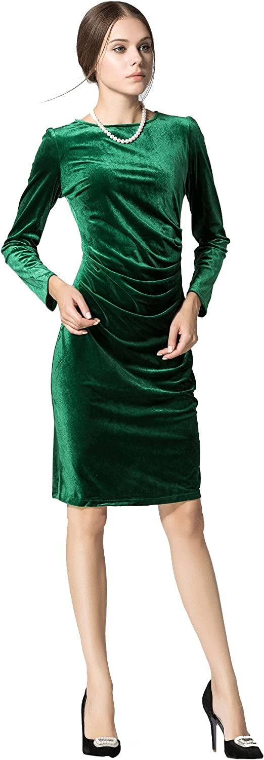 Unomatch Women's Long Sleeved Roundneck Slim Velvet Pleated Winter Dress Green