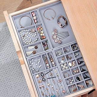 ICYSTO 4pcs/lot Jewelry Organizer Velvet Jewelry Storage Tray Display Ring Bracelet Necklace Storage Box Showcase Drawer O...