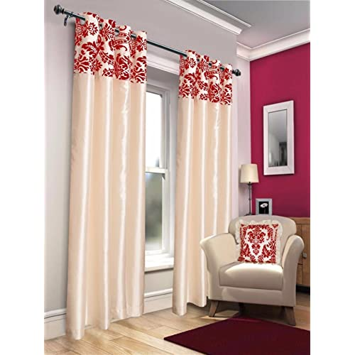 Curtains for Living Room White and Red: Amazon.co.uk