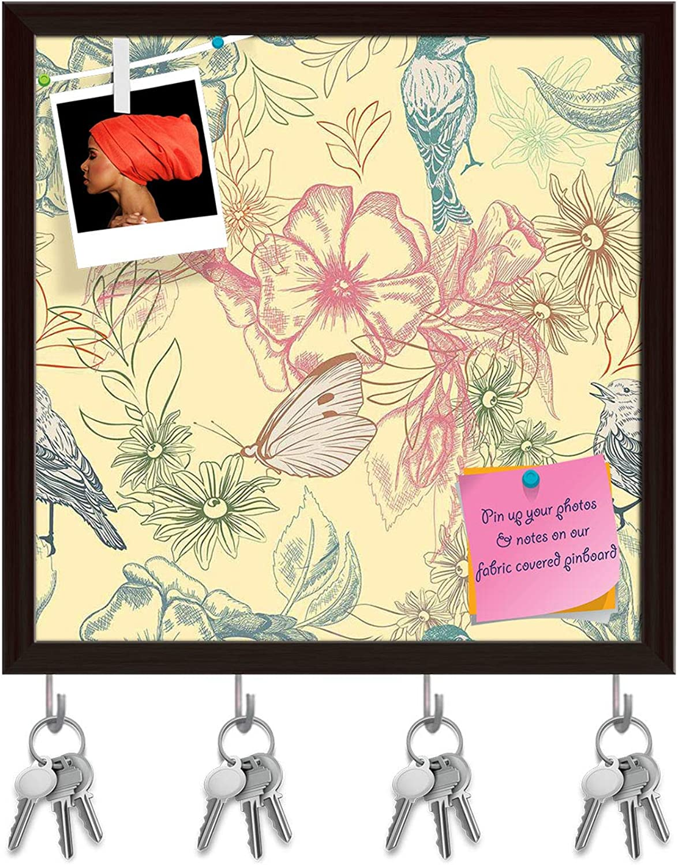 Artzfolio Spring Flowers D4 Key Holder Hooks   Notice Pin Board   Dark Brown Frame 20 X 20Inch