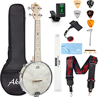 AKLOT Banjo Ukulele Concert 23 inch Remo Drumhead Open Back Maple Body 15:1 Advanced Tuner with Two Way Truss Rod Gig Bag ...