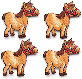 4 Pcs Cute Pony Embroidered Patches,Iron On Patches, Sew On Applique Patch,Embroidery Patches, Cool Patches for Boys, Girls, Kids