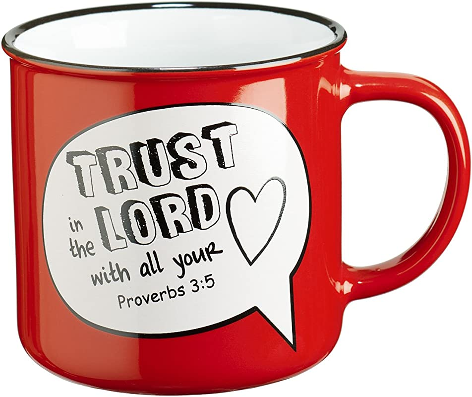 Trust In The Lord Scripture Bubble In Red Ceramic Proverbs 3 5 Coffee Mug
