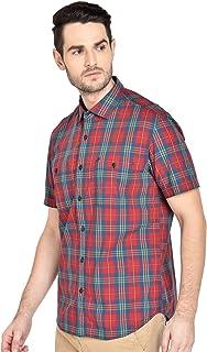 BASICS Slim Fit Mars Red Checks Shirt