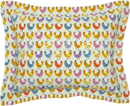Roostery Pillow Sham, Hens Chickens Farmhouse Chicks Farm Animal Spring Watercolor Hen Chicken Nursery Rainbow Colorful Easter Print, 100% Cotton Sateen 30in x 24in Flange Sham
