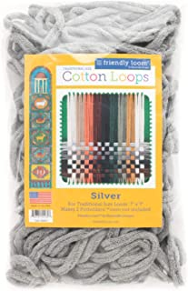 """Friendly Loom Potholder Cotton Loops 7"""" Traditional Size Loops Make 2 Potholders, Weaving Crafts for Kids and Adults-Silve..."""