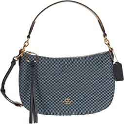 COACH Legacy Jacquard Sutton Crossbody,Gold/Midnight Navy