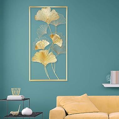 """Lulu Home Metal Wall Decor, 39"""" X 20"""" Golden Ginkgo Leaf Wall Hanging Decor with Frame, Golden Metal Art Wall Sculptu"""