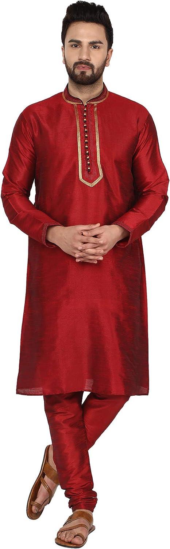 SKAVIJ Mens Tunic Kurta Pajama Ethnic Summer Wedding Party Dress Set