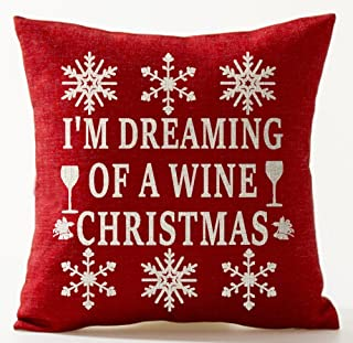 Winter Greetings Beige Beautiful Snowflake I'M Dreaming Of A Wine Christmas Wineglass Bells In Red Holiday Gifts Cotton Li...