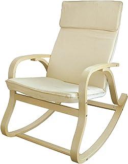 SoBuy® Silla de relada, mecedora, sillón de relada, beige