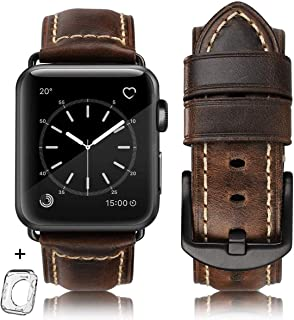 """Compatible iWatch Band 38mm 40mm, Top Grain Leather Band Replacement Strap iWatch Series 4,Series 3,Series 2,Series 1,Sport, Edition 42mm 44mm XL(6.-8.3"""") Brown"""