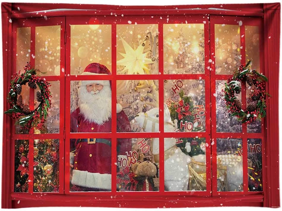 Funnytree 10x8FT Durable Fabric Soft Red Christmas Store Photography Backdrop Santa Claus Xmas Party Decoration Supplies Winter Gifts Background Photo Booth
