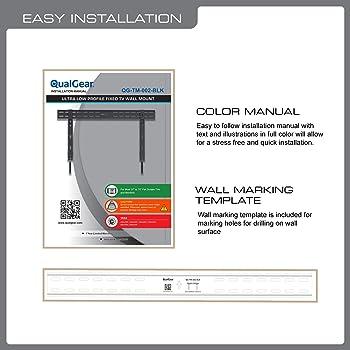 QualGear QG-TM-002-BLK 37-Inch to 70-Inch Universal Ultra Slim Low Profile Fixed Wall Mount LED TVs, Black