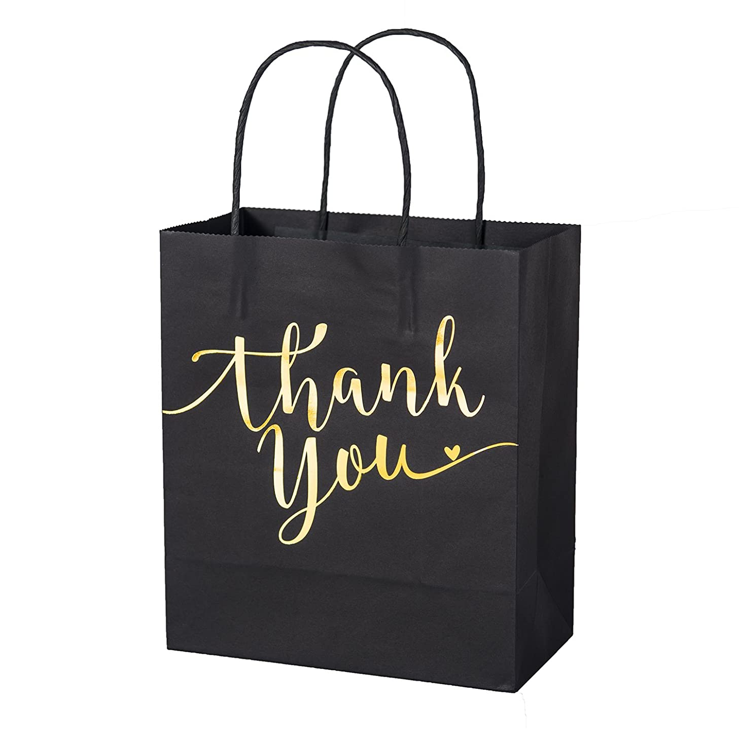 Ling's Moment Set of 25 Black Gold Foil Thank You Gift Bags for Wedding Welcome Bags, Thanksgiving Christmas Holiday Party Business Gift Bags