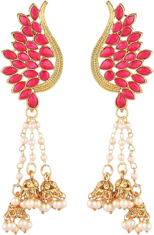 Efulgenz Indian Jewelry Bollywood Gold Tone Crystal Tassel Jhumki Leaf Dangle Earrings Set for Women