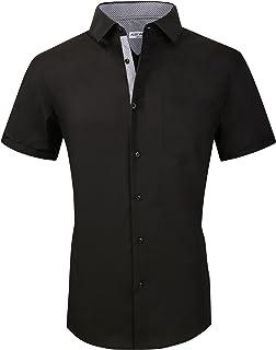 Alex Vando Mens Dress Shirts Casual Regular Fit Short Sleeve Men Shirt