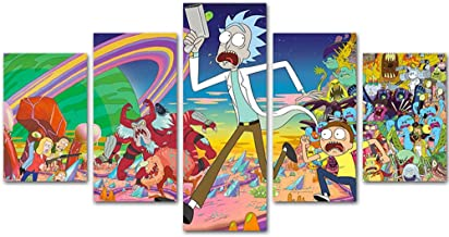 MingTing - 5 Panel Canvas Wall Art Rick and Morty Poster Painting Modern Home Decor for Living Room Kid Room (55x100cm with Frame)