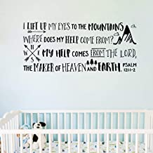 Psalm 121:1-2 Vinyl Wall Decal by Wild Eyes Signs I lift up my eyes to the mountains, Explorer Nursery, Arrows Art, Mountains Sticker, Nature Theme, Compass, Nursery Lettering, PS121V1-0001