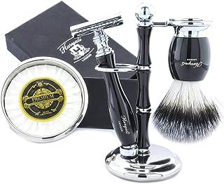 Męski zestaw do golenia na mokro, 5 sztuk, szczotka do golenia włosów z borsukiem, ręcznie polerowana stojak do golenia ze...