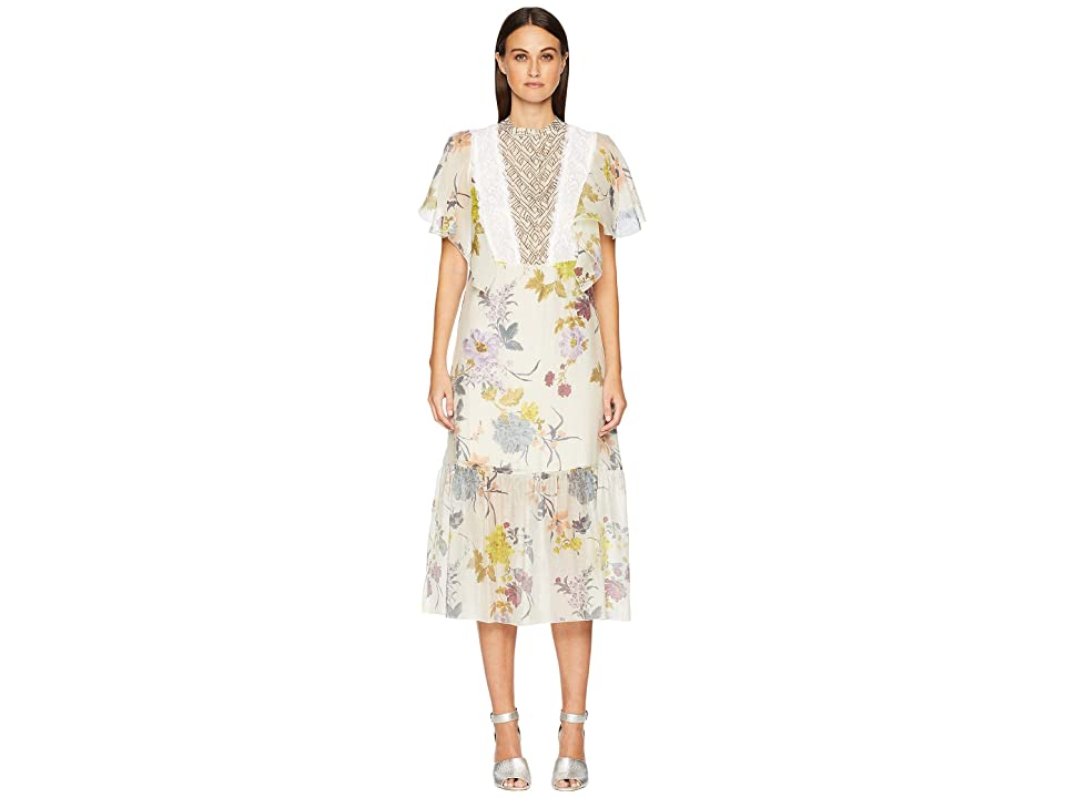 See by Chloe Floral Lace Midi Dress (Multicolor White) Women