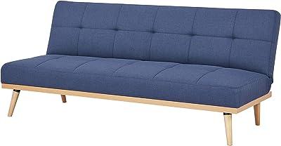 Amazon Basics - Canapé convertible 3 places, 182 x 80 x 80 cm, Blue foncé