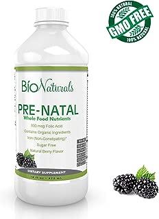 Bio Naturals Prenatal Liquid Vitamins for Women - 100% Vegetarian Supplement w/ Whole Food Nutrients & Organic Ingredients - All Essential Daily Vitamins for Pregnancy - No Sugar or Gluten - 16 fl oz