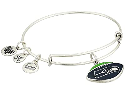 Alex and Ani Color Infusion Seattle Seahawks Football II Bangle (Rafaelian Silver) Bracelet