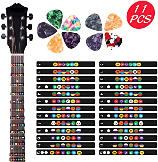 2 Sheets Guitar Fretboard Note Decals Scale Sticker Neck Fingerboard Frets Sticker for Beginner For 6 Strings Acoustic Electric Guitar & 9 Packs Guitar Picks
