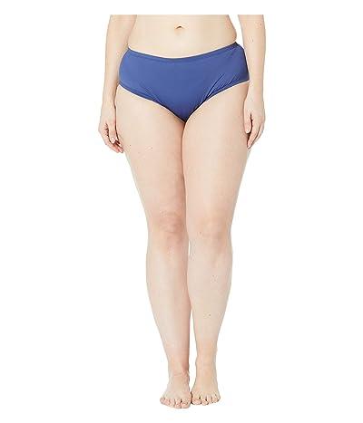 24th & Ocean Plus Size Solids Mid Waist Pant Bottoms (Navy) Women