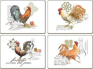 Juego de 4 manteles individuales de Cala Home, estampado con imagen de gallo pintado con acuarela