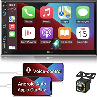 $191 » Double Din Stereo Compatible with Apple CarPlay and Android Auto, Hieha 7 Inch Touch Screen Bluetooth Car Radio Support AM...