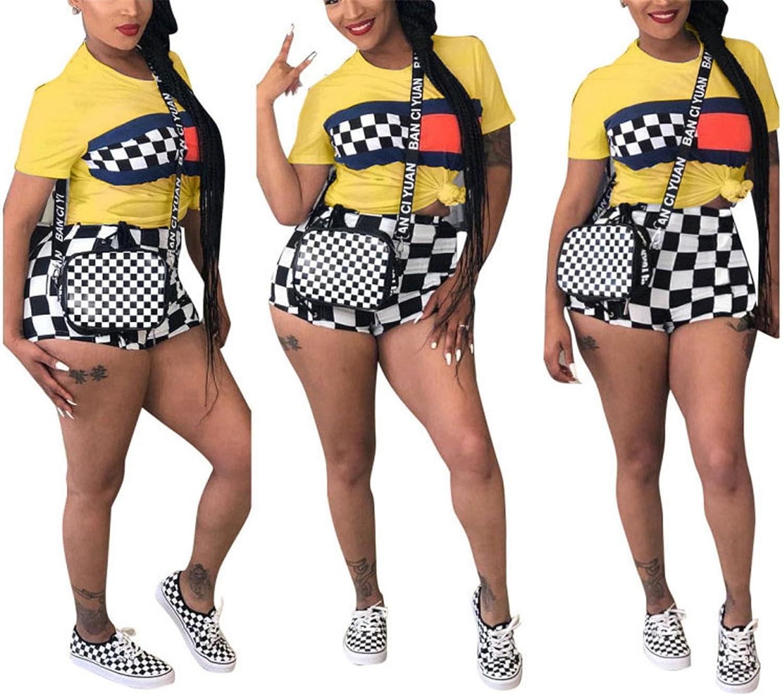 Antique Style Women Casual 2pcs Suits Plaid Knot Crop Top Shirts + Shorts Hot Pants Club Dress
