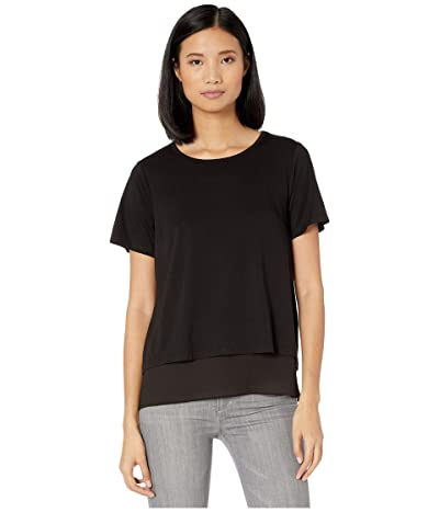 MICHAEL Michael Kors Back Cutout Short Sleeve Top (Black) Women