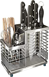 Shulily Support pour ustensiles de cuisine avec 5 emplacements pour couteaux, en acier inoxydable 304, avec plateau - Argenté
