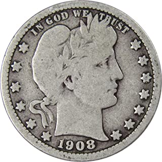 1908 O 25c Barber Silver Quarter US Coin Average Circulated