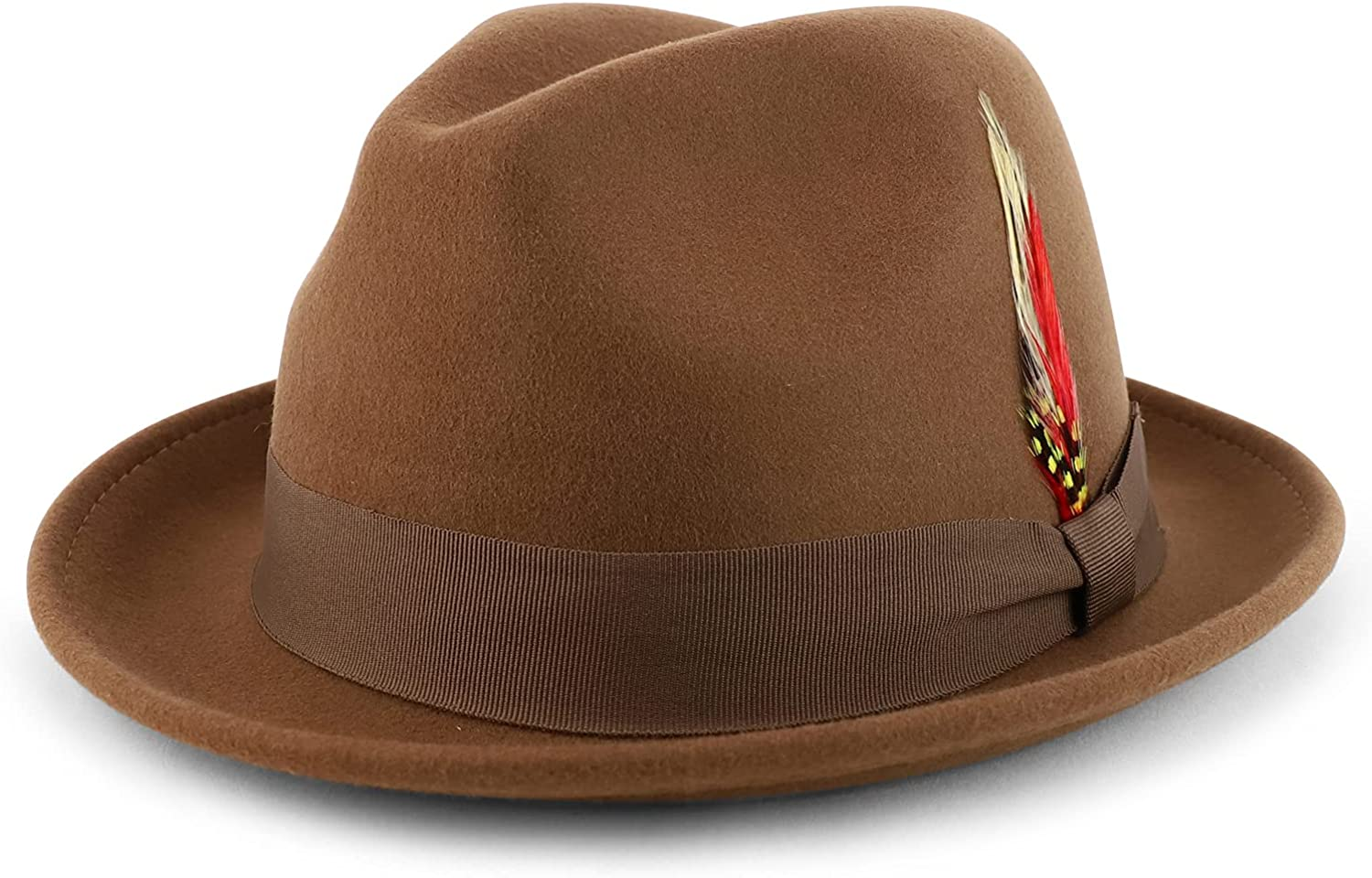 Armycrew Classic 100% Wool Felt Fedora Feather Fits Upto with Max 78% OFF Jacksonville Mall 2X