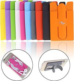 10pcs Mix Color Universal Silicone Stick on Credit Card Holder with Phone Stand - Fits Apple Iphone 6, 6 Plus, 5s, 5, 4,sony Xperia Z3, Samsung Galaxy S5, S4, S3, Note 3, 2, 1, Ipod Touch